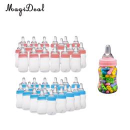 MagiDeal 24 pz / lotto Bottiglie di latte Bottiglie di caramelle Battesimo battesimo Baby Shower Bomboniere regali rosa / blu cheap baby christening party favors da favori del partito di battesimo del bambino fornitori