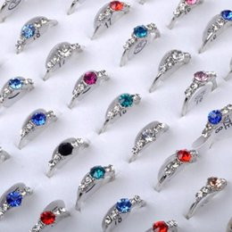 Wholesale wholesale bulk rings - 20Pcs lot Wholesale Silver Plated Mixed Colorful CZ Crystal Women Rings Elegant Party Wedding Jewellery Bulks