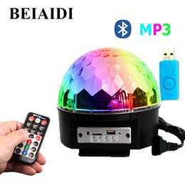 Wholesale disco speakers - BEIAIDI 9 Colors Bluetooth Big Magic Ball DJ Disco Stage Light Sound Control MP3 Speaker Stage Lamp Laser Projector With U disk