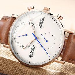 2019 спортивные наручные часы GUANQIN design Genuine Leather Watches Men Top  NEW Men Sports Clock Sapphire Analog waterproof Mens Quartz Wrist Watches скидка спортивные наручные часы