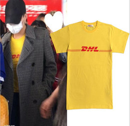 Wholesale cotton express clothing - men women Popular logo bigbang rights dragon GD yellow DHL express fun short sleeve T-shirt lovers summer clothes