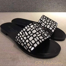 Wholesale low heeled white sandals - France Brand Sandals Metal Design Slippers Original Quality Shoes Causal Slide Huaraches Flip Flops Loafers Scuffs by shoe001