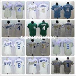 Hombres 4 Alex Gordon 5 George Brett 8 Mike Moustakas Jerseys color blanco azul gris verde desde fabricantes