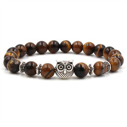 Wholesale Indian Head Charms - 2018 New Tigereye Agate Bracelets Alloy Leopard Head Owl Palm Lion Helmet Bracelets Natural Stone Bangles For Women & Men Gift