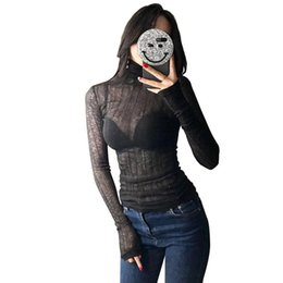 Wholesale Fashion Thin Blouses - Fashion Women Brand Women turtleneck knitted sweater Slim bottoming shirt Sexy perspective pullovers tops Thin blouses