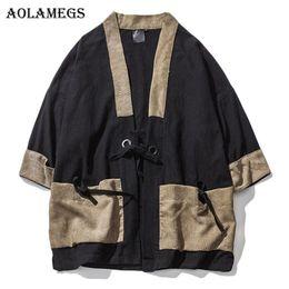 Wholesale Japanese Linen Fashion - Aolamegs Men Shirt Kimono Japanese Harajuku Patchwork Mens Shirt Linen Retro Origin Casual Fashion Streetwear Cardigan Outwear