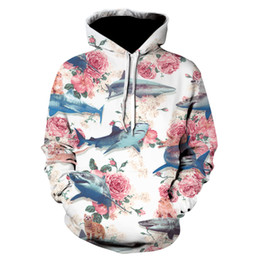 Flower shark 3d Sweatshirts Hoodies Men Women Print Funny shark Hooded  pullover Hoody Casual Pullover DropShip Streetwear 659010d7e