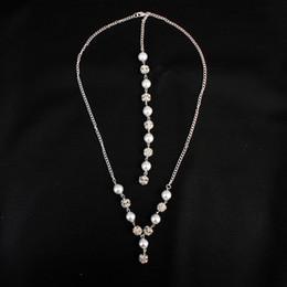 Colar vestido sem costas on-line-Mais novo cristal pérola beads backless colar mulheres noiva backdrop longo colar para backless casamento evening dress jck005