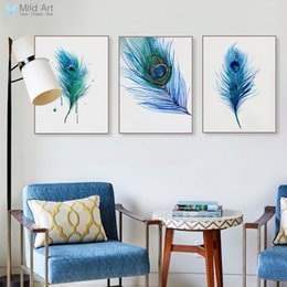 Wholesale Peacock Canvas Painting - Modern Watercolor Blue Peacock Feather Poster A4 Triptych Nordic Living Room Wall Art Picture Home Deco Canvas Painting No Frame