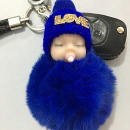 Bambole confuse online-All'ingrosso della fabbrica Ciuccio Sleeping Baby Dolls Capelli palla peluche bambola portachiavi ciondolo auto portachiavi ornamenti bambola confuso bambole a buon mercato