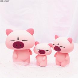 2019 crianças, luz, luz, animais Resina Animais Dos Desenhos Animados Rosa Porco Anime Figura de Ação Impresso Mealheiro Poupança Caixa De Dinheiro Crianças Presente Decoração Brinquedos Luz Da Noite Novo crianças, luz, luz, animais barato