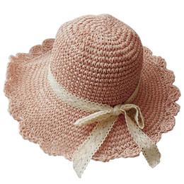 cappello estivo della benna Sconti Cappello da sole di paglia da donna  Summer Beach Lace Bowknot fdf46fcbb0c7
