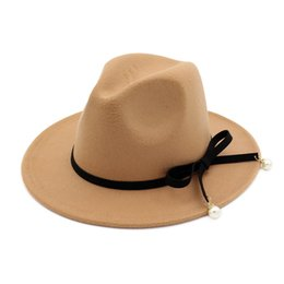 felt trilby hat UK - Women Felt Woolen Jazz Trilby Derby Fedora Hat with  Pearl Bowknot aad6ac705552