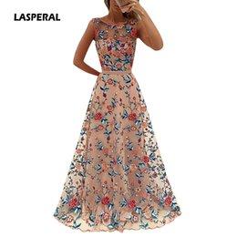 vestidos estampados de flores Rebajas LASPERAL 2017 floral bordado vestido maxi largo del partido del banquete de la novia elegante palabra de longitud fiesta Prom Vestidos formales