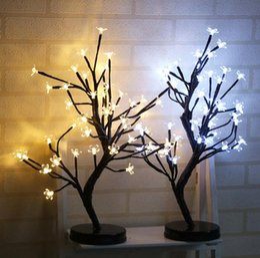 Wholesale light blossom trees wholesale - LED Battery Plum Blossom Light Waterproof 48 Head Night Lights Romantic Novelty Christmas Wedding Party Decor Tree Lamp GGA471