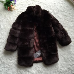 Wholesale Womens Brown Winter Jacket - FF Brand Long Fur Coat Winter Women Faux Fox Fur Coat Stand Collar Shaggy Warm Womens Fake Jacket Luxury Jacket
