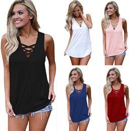 Женская летняя кросс-майка онлайн-Для женщин лето с рукавов V шеи рубашка мода футболка зашнуровать крест-накрест Cami топы S M L XL XXL RF1317