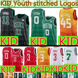 KIDS Boston Celtics 11 Kyrie Irving Jersey Youth Kid Utah Jazz 45 Donovan  Mitchell Houston Rockets 3 Chris Paul 13 Harden Basketball Jerseys d57df975b