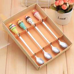 Wholesale Ice Resin - Stainless Steel Coffee Spoon Long Ice Cream Spoon Four Sets Cartoon Resin Events Wedding Gifts Tableware For Couples Children