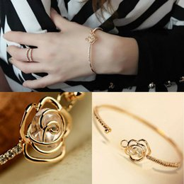 gold gefüllt armband mädchen Rabatt Neue Dame Mädchen Armreif Charme Elegant Manschette Shiny Crystal Gold Gefüllt Bling Strass Chic Armband Geschenk