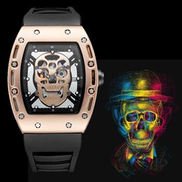 Wholesale Skeleton Watches For Mens - 45mm Big watch brands military mens watches top brand luxury skeleton Transparent Rose Gold Watch sports Rubber strap cheap gift for boy