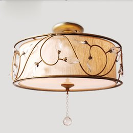 Wholesale Fabric Lampshades - Modern Fabric Lampshade Ceiling Light Lighting E27 American Simple Crystal Living Room Bedroom Dining Room Hanging Lamp CL206-C