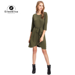 Wholesale Ladies Warm Shirts - Women Army Green Dress Tie Waist Shirt Dress Female Long Sleeve Solid Warm Dress Ladies Casual Dresses