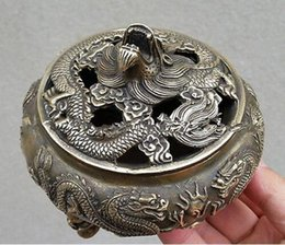 Wholesale Bedroom Sheets - Chinese Favorites Bronze statue dragon Collectibles incense burner  Censer