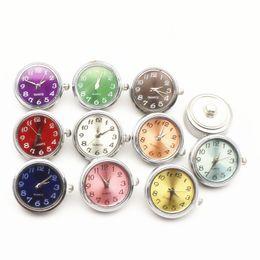 Mix relógios coloridos on-line-10 pçs / lote Mix Cor Relógio Snap Botão Encantos DIY 18mm Gengibre Botão Pulseira Snaps Jóias