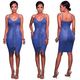 2ed02f3753 high split deep bodycon dress Coupons - Sexy Bandage Denim Dress Summer  High Elastic Denim Skirt
