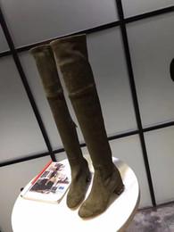 2019 светло-коричневые коленные сапоги Женская мода длинные стрейч с бисером над коленом сапоги квадратные heelsole внутри кожа gree + черный + коричневый длинные сапоги