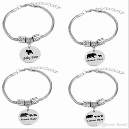 Wholesale Channel Selling - Europe and the United States selling jewelry creative letter bracelet mama bear zinc alloy bear oil bear jewelry factory outlets