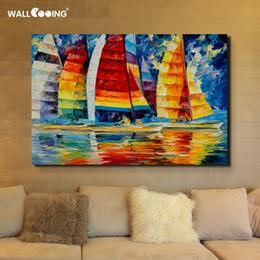 100% dipinto a mano spatola barca a vela pittura ad olio di paesaggio venezia immagini su tela dipinti arte per la decorazione della parete Y18102209 supplier sailboat oil paintings da pitture a olio a vela fornitori