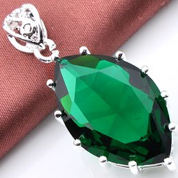 Wholesale Party Things - Luckyshine 2piece lot Christmas 925 silver plated special Good things cheap price Heart-shaped Green amethyst crystal pendant for p0651