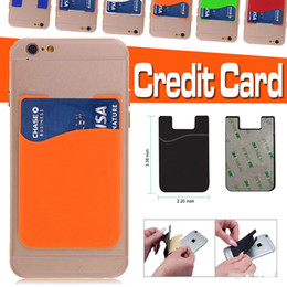 Wholesale Universal Smartphone Wallet - Universal Ultra-Slim Self Adhesive Credit Card Wallet Card Set Card Holder Colorful Silicone Cellphone Case For iPhone Sumsung S8 Smartphone