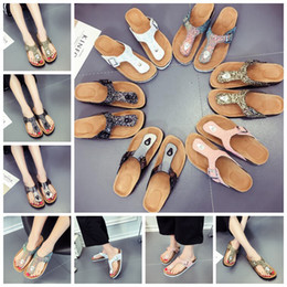 slipper clips Coupons - Sequins Beach Cork Slippers 14 Styles Casual Sandals Flip Flops PU Leather Non-slip Clip Feet Slippers OOA5492
