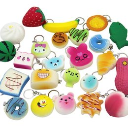 Wholesale Kawaii Kids - Squishy Simulation Bread 30pcs Random Mix PU Cute Lovely Cartoon Pendant Kawaii Food Squishy Super Kid Toy Decompression Toys