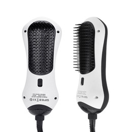 Wholesale Dc Heat - Infrared Hair Straightening Brush Hair Dryers Portable Hot Air Paddle Brush Detangle & Dry Heating Hair Blower Travel Household Styling Tool