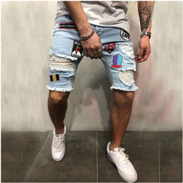 Patch denim shorts hommes en Ligne-Hip Hop Mens trou déchiré Shorts Jeans Zipper Longueur au genou Streetwear Denim Jean Patches Motif Distressed Blue Jeans Shorts Hommes Jeans Pantalon