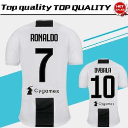 2019 Juventus home Camisa Futebol 18/19 # 7 RONALDO DYBALA Camisa de Futebol MARCHISIO MANDZUKIC PJANIC BONUCCI uniforme de futebol Tamanho de vendas S-4XL de