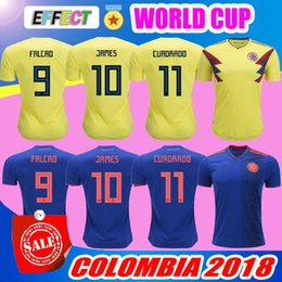 Wholesale colombia shorts - Colombia 2018 World Cup Soccer Jerseys Colombia Home Yellow Away Blue FALCAO JAMES Camisa De Futebol Best Quality CUADRADO football shirts