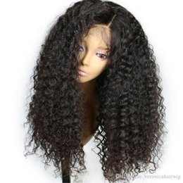 cheap kinky curly afro wigs Promo Codes - Wholesale Cheap Glueless Lace Front Synthetic Wigs For Black Women Brazilian Afro Kinky Curly Wig Heat Resistant Pre Plucked Bleached Knots