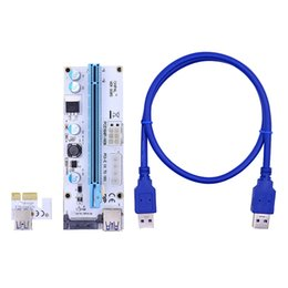 Wholesale Pci Interface Cards - Blue 60CM VER008S PCI-E 1X to 16X Extender PCIE Riser Card with 4pin 6pin SATA Power Interface for BTC LTC Miner