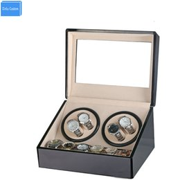 Wholesale Watch Case Automatic Winder - Wholesale-Global Plug Use Black Wood Surface Watch Winder Box Inner Velvet Automatic Rotation 4+6 Watch Winder Storage Case Display Box