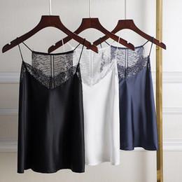 2019 chalecos de seda Smmoloa Satin Silk Chaleco Sexy Lace Silk Tank Tops Camis chalecos de seda baratos