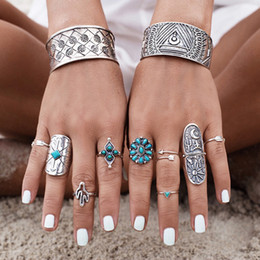Wholesale finger ring patterns - Vintage Geometric Carve Patterns Knuckle Rings Sets 9pcs Set Boho Totem Design Midi Ring Inlay Turquoise Finger Wide Ring Jewelry Set