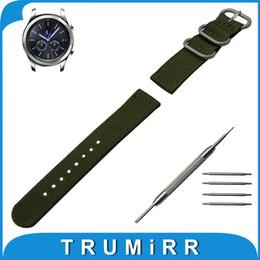 2019 brazaletes zulú Al por mayor- 22 mm correa de reloj de nylon para Samsung Gear S3 clásico / Frontier Zulu tela correa correa de muñeca pulsera negro gris azul marrón verde brazaletes zulú baratos
