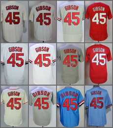 Wholesale polyester bobs - 2018 Flexbase #45 Bob Gibson Home Away Jersey Cream Red Blue Grey White Black Pullover Cool Base Stitched