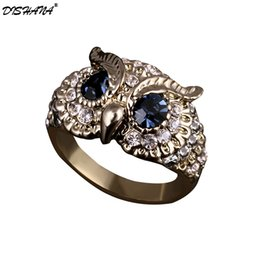 new eye ring men fashion Coupons - Fashion Brand Design New Classical Colorful Rhinestones Jewelry Blue Crystals Eyes Owl Ring For Women  Men Jewelry(KA0005)