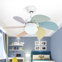 Wholesale Ceiling Contemporary Lamp - Modern Children Room Ceiling Fan Lamp Bedroom Fan Simple Restaurant Living Room Cafe Clothing store Color Lamp Free Shipping